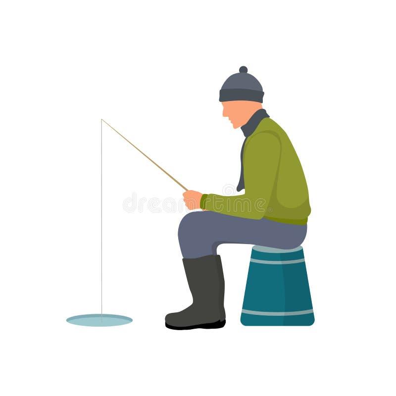Inverno che pesca l'illustrazione variopinta di vettore della carta illustrazione di stock