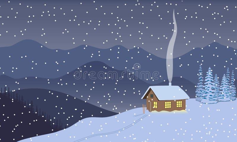 Inverno che uguaglia penombra, notte con la casa illuminata, montagne distanti, cieli, neve, turbine di neve di neve, fumo del ca illustrazione vettoriale