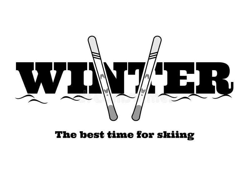 inverno com esquis e neve - o melhor momento para esquiar ilustração royalty free