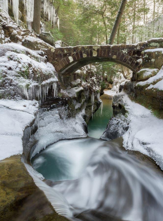 inverno da banheira de Devil's em montes de Hocking na caverna do ancião foto de stock royalty free