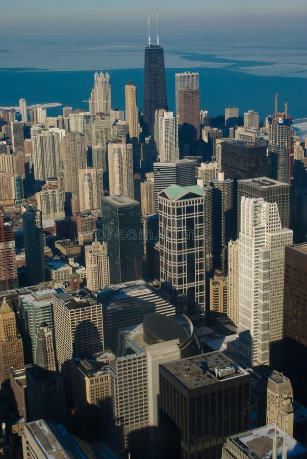 Inverno de Chicago (opinião de Ariel) imagens de stock royalty free