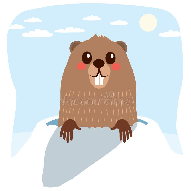 inverno de Groundhog ilustração do vetor
