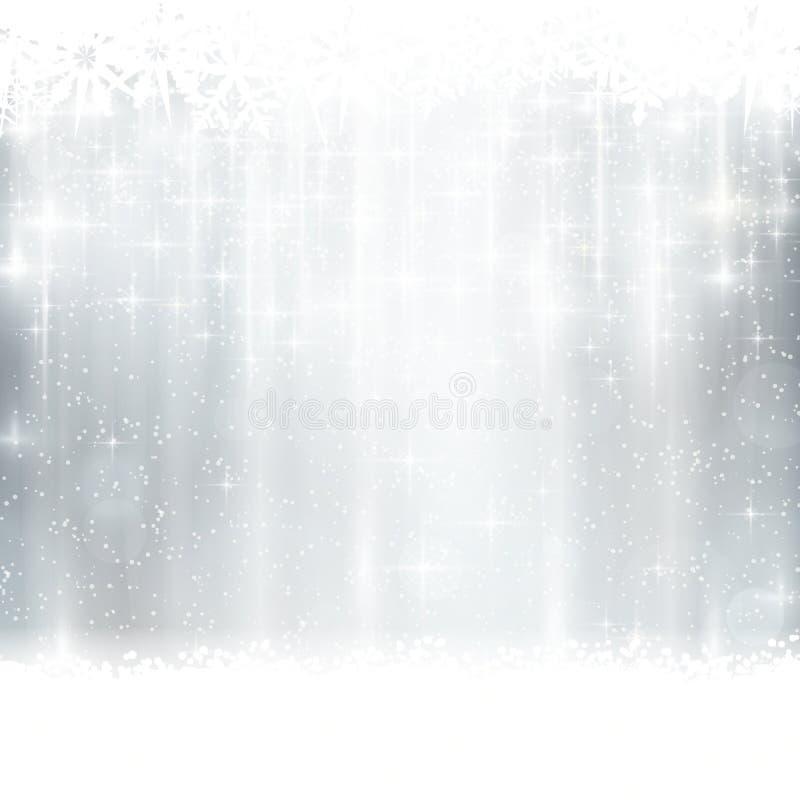 inverno de prata, fundo do Natal com efeitos da luz ilustração do vetor