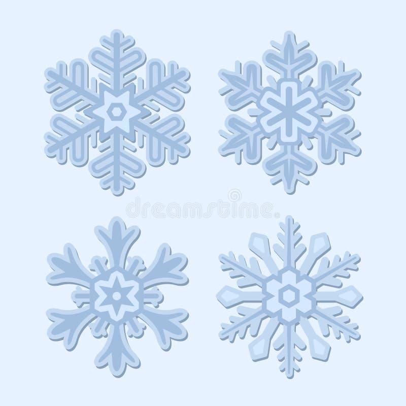 Inverno del fiocco di neve fissato su fondo leggero illustrazione di stock