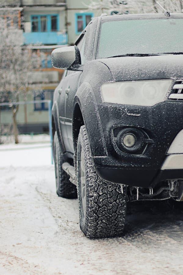 Inverno del gelo dell'automobile fotografie stock libere da diritti