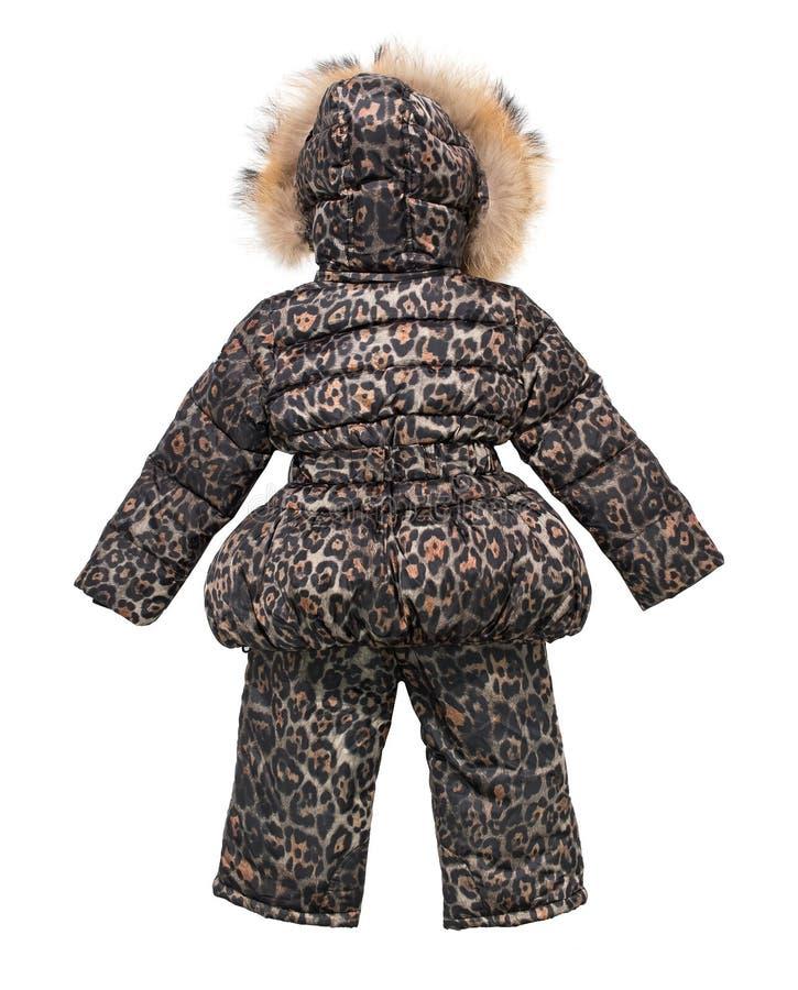 Inverno del ` s dei bambini complessivo con pelliccia isolata su fondo bianco fotografia stock libera da diritti