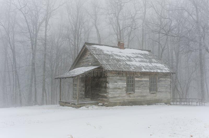 Inverno della scuola della montagna della spazzola immagini stock
