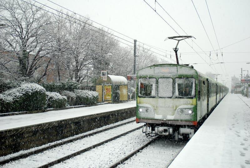 Inverno dello Snowy a Dublino immagine stock