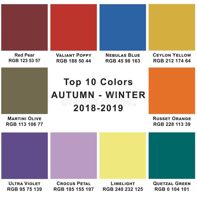 Inverno 2019 di colori del principale 10 Colori d'avanguardia di una stagione illustrazione di stock