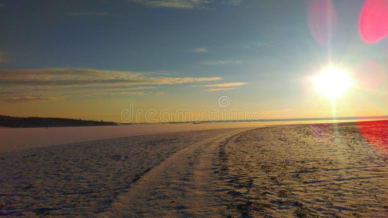 Inverno di tramonto fotografia stock libera da diritti