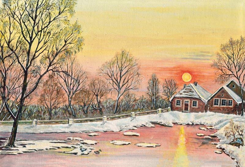 Inverno di tramonto della cartolina di Natale del paesaggio di natale della pittura della neve illustrazione di stock