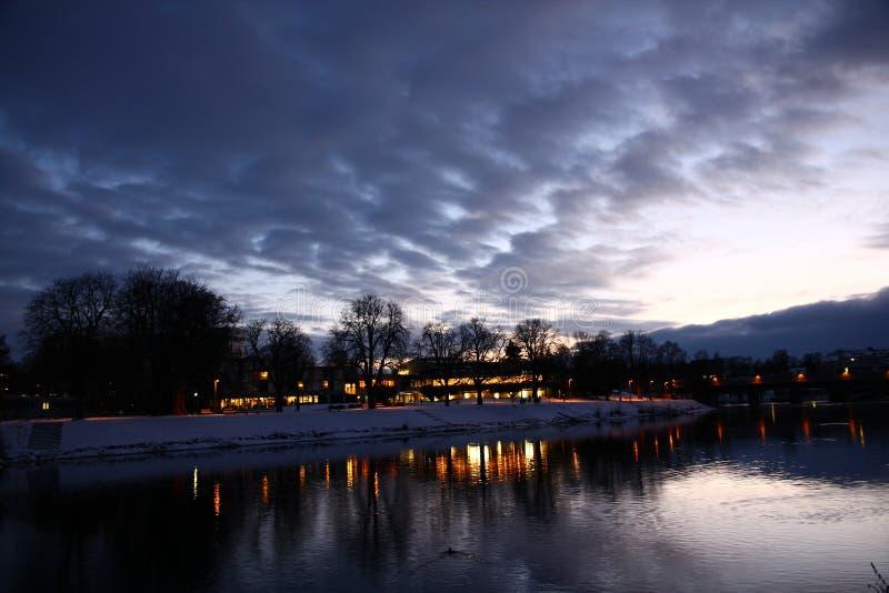 Inverno di tramonto di Ulm fotografie stock