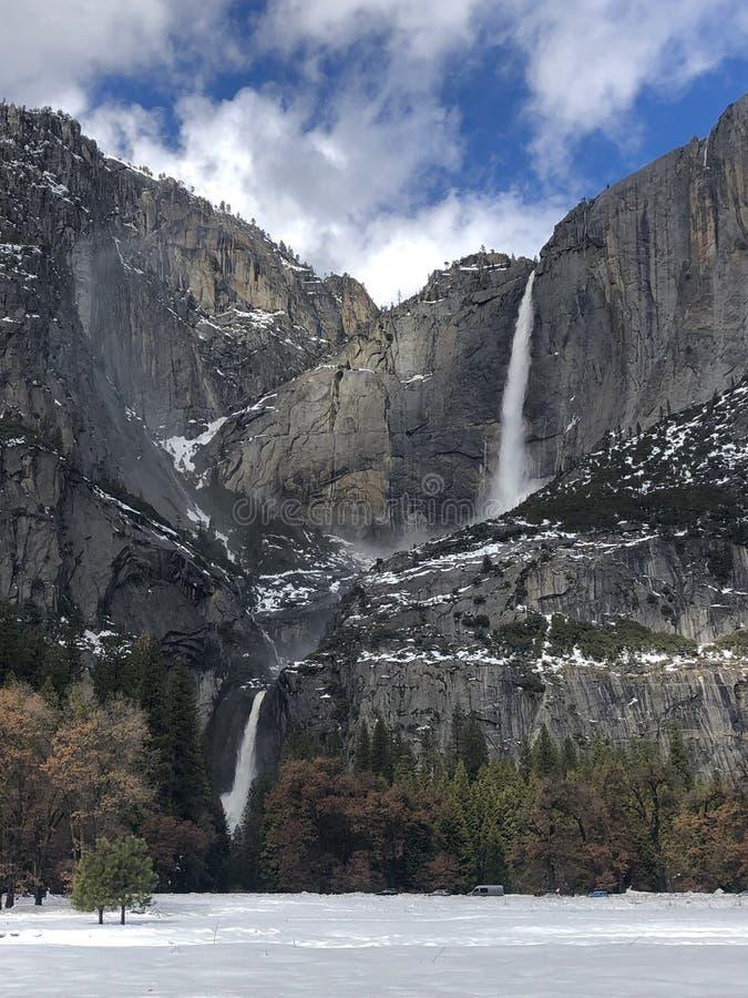 Inverno 2019 di Yosemite Falls immagine stock libera da diritti