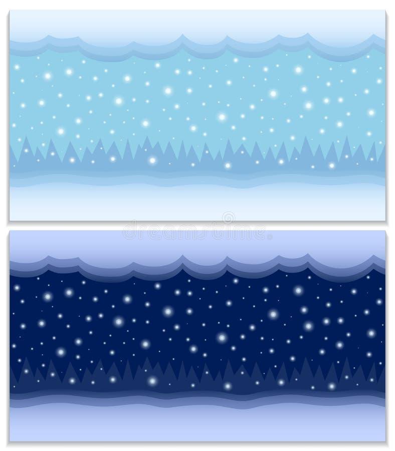 inverno dia e noite dois fundos sem emenda do vetor ilustração stock