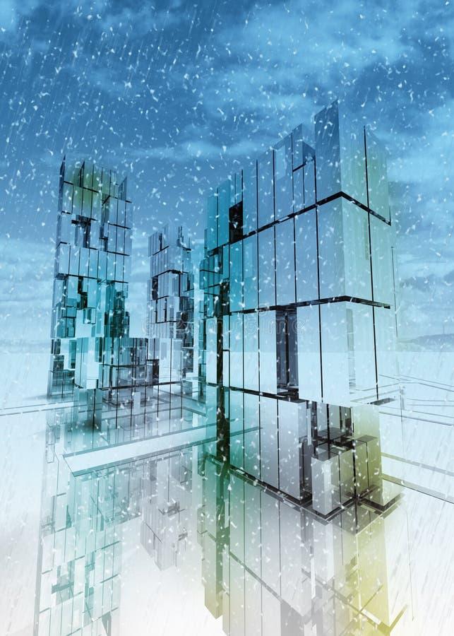 Inverno do conceito da cidade do negócio do arranha-céus ilustração royalty free