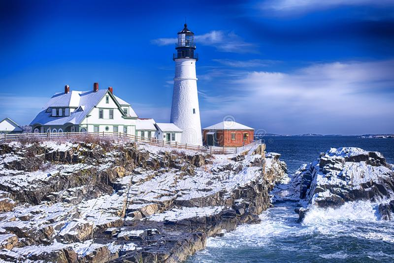 inverno do farol de Portland Maine Headlight