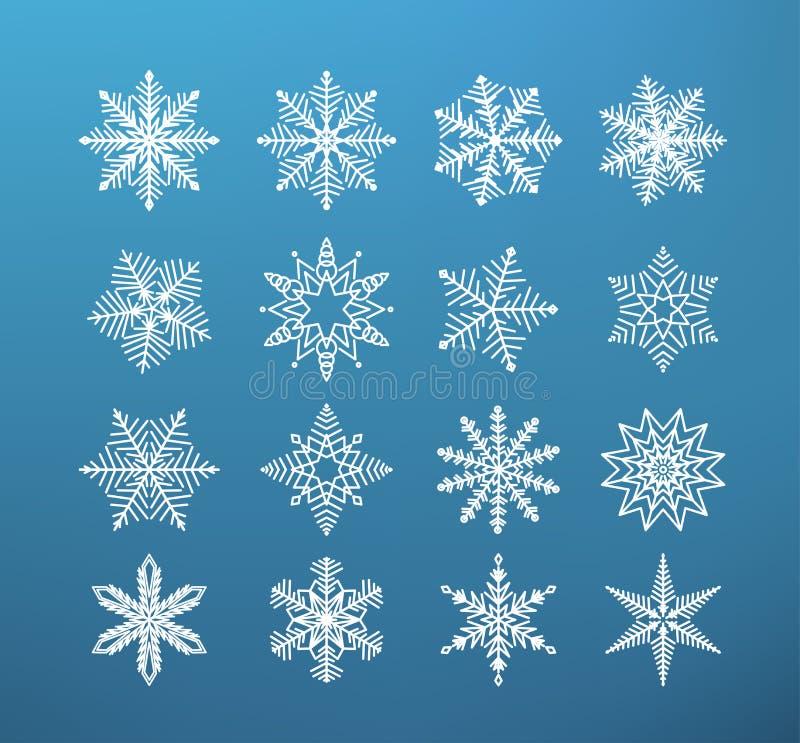 inverno do floco de neve Grupo de floco da neve na obscuridade - fundo azul ilustração royalty free