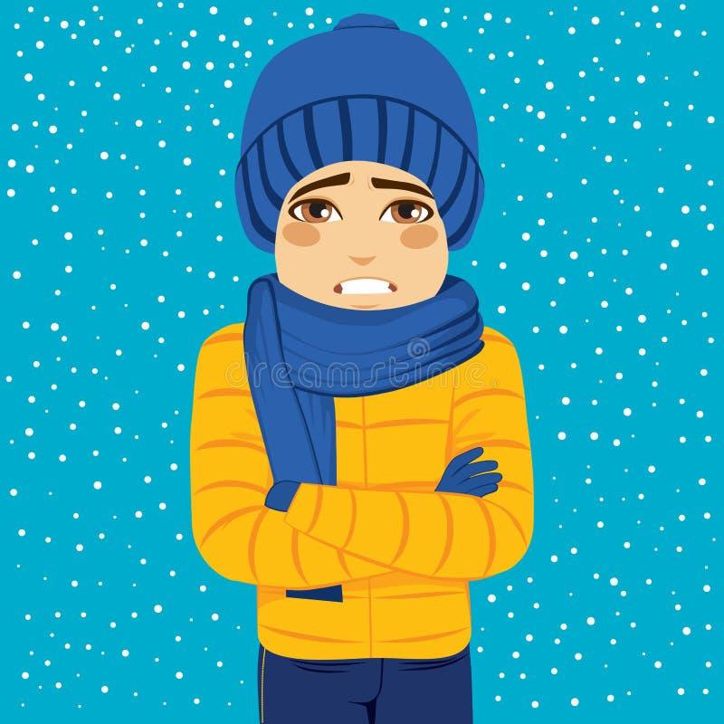 inverno do homem que tirita ilustração stock