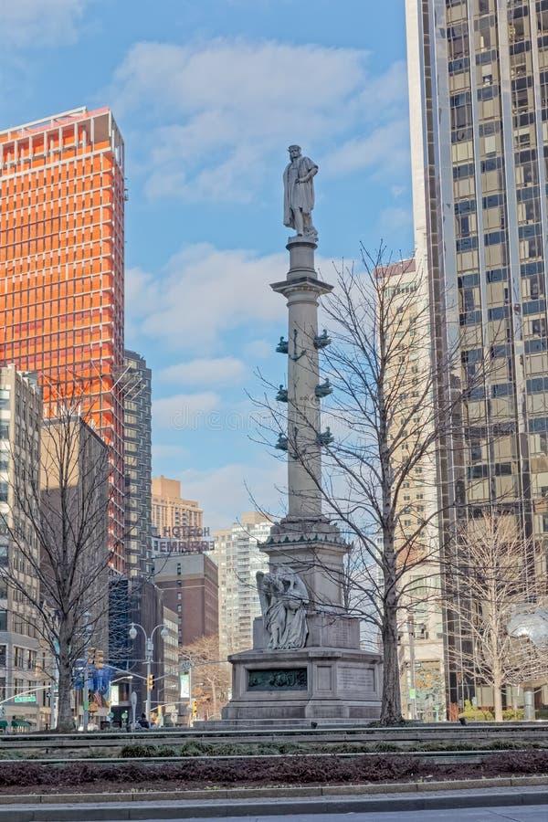 inverno do monumento de New York Columbus Circle Column foto de stock