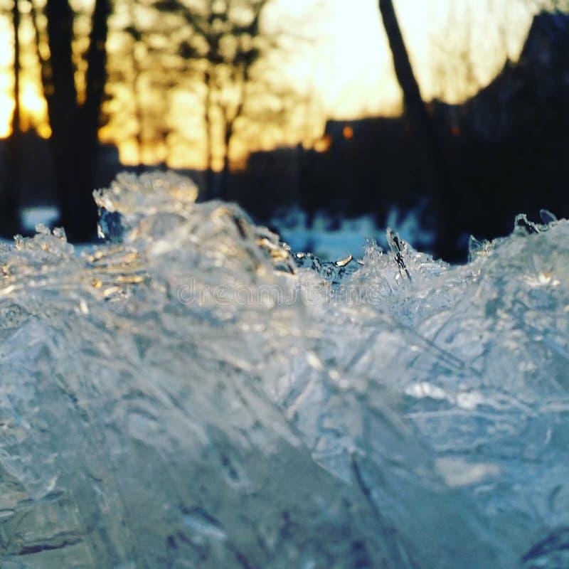 inverno do nascer do sol do gelo foto de stock royalty free