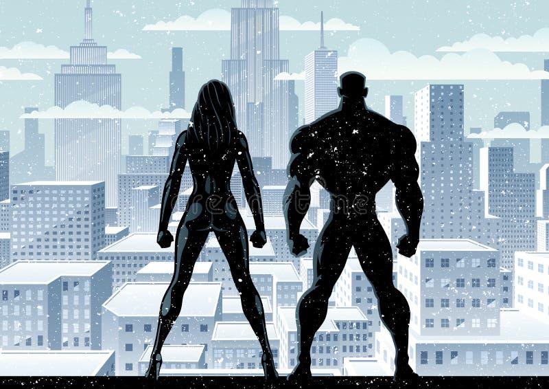 inverno 2 do relógio dos pares do super-herói ilustração royalty free