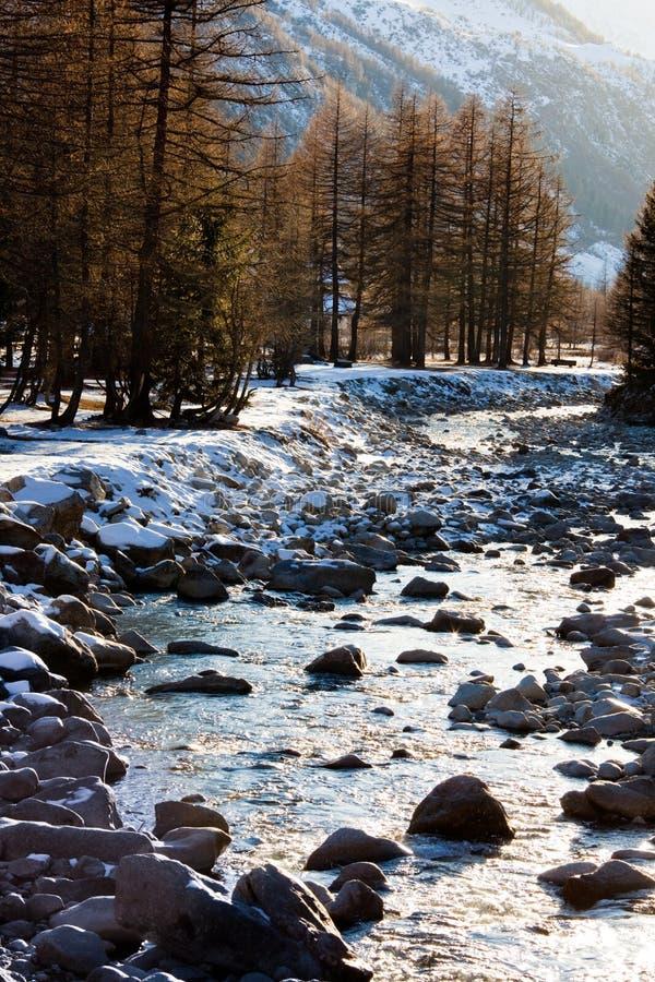 Inverno do rio da montanha fotos de stock royalty free