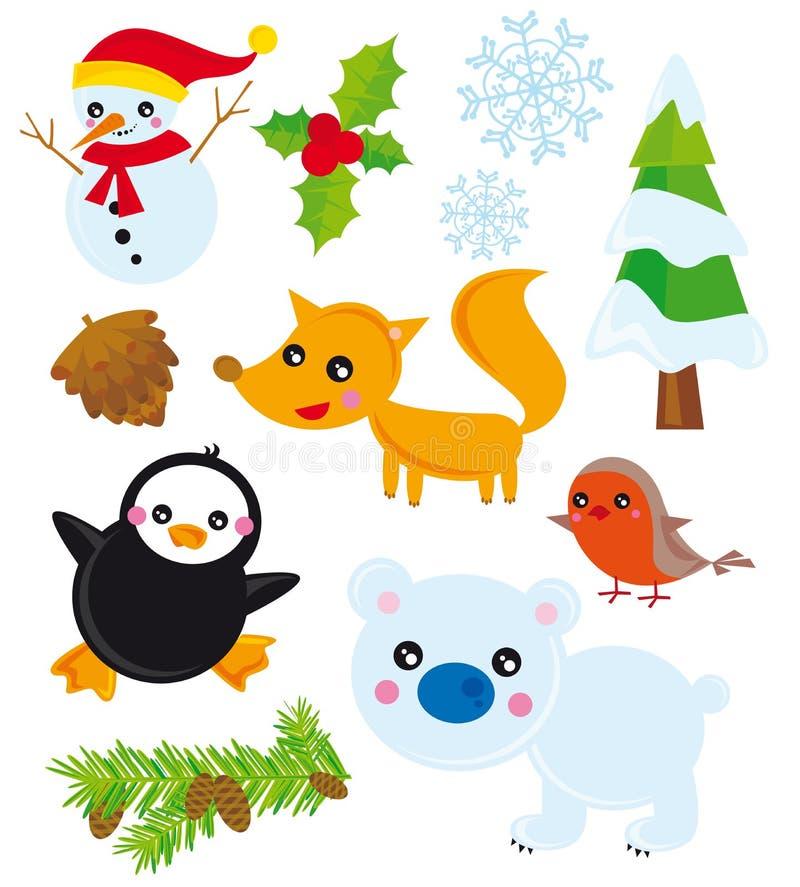 Inverno dos elementos da estação ilustração stock