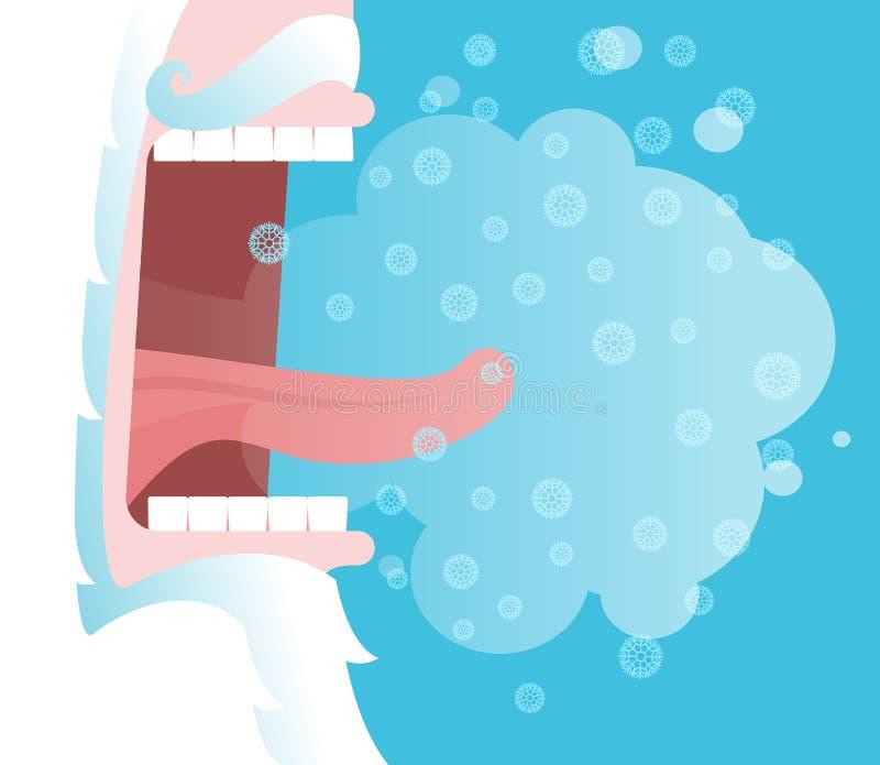 inverno dos gritos Grito de Santa Claus Flocos de neve e vapor fora de seu m ilustração do vetor