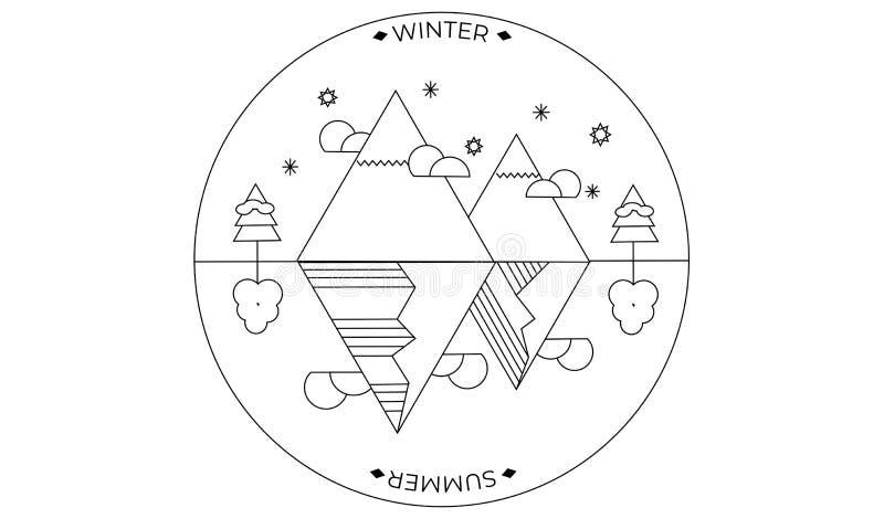 inverno e temporada de verão ilustração stock