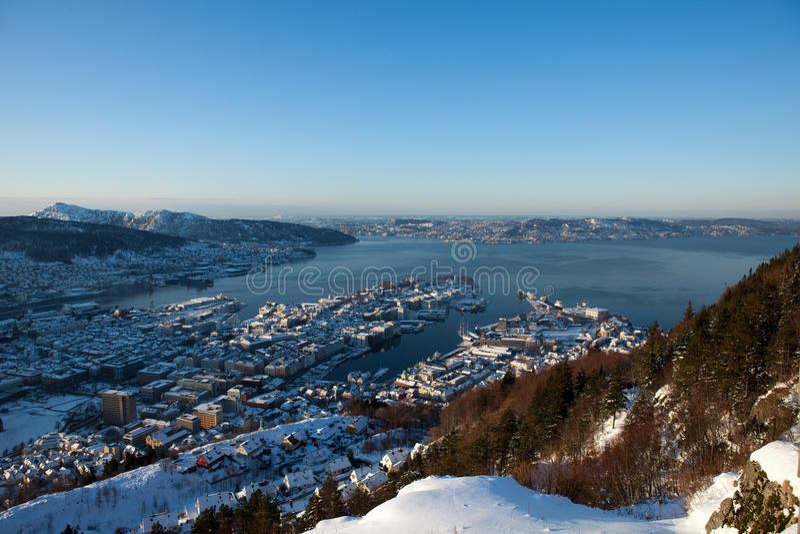 Inverno em Bergen imagens de stock royalty free