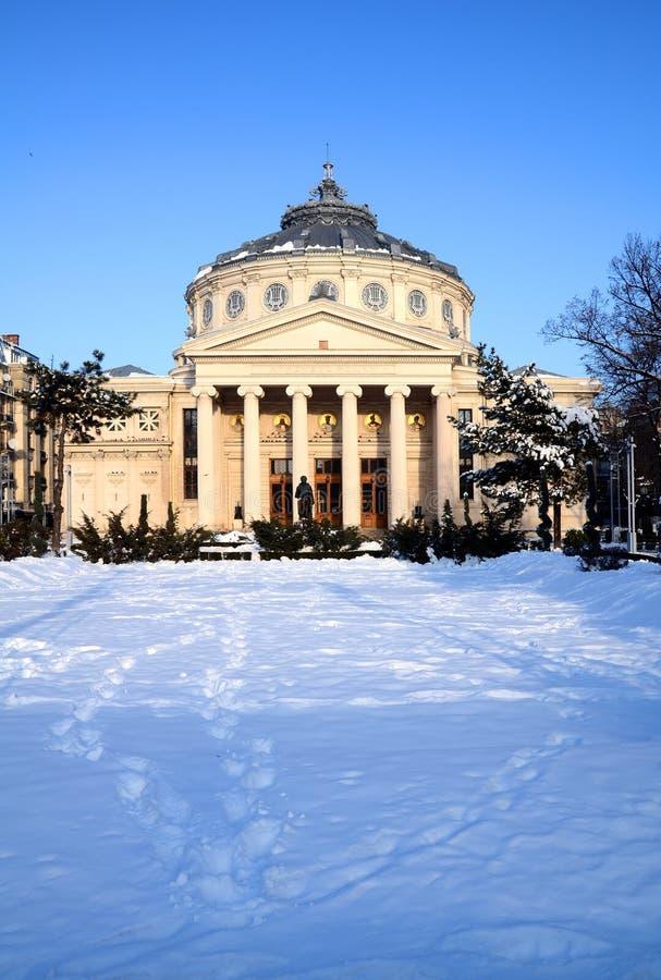 Inverno em Bucareste - o Athenaeum fotos de stock royalty free