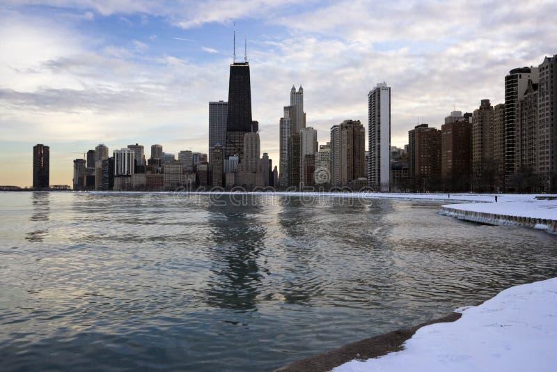 Inverno em Chicago da baixa imagens de stock royalty free