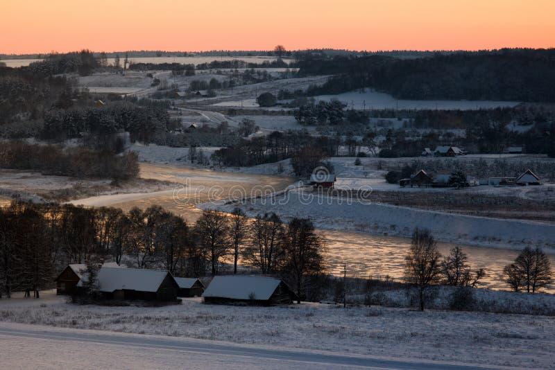 Inverno em Lithuania foto de stock
