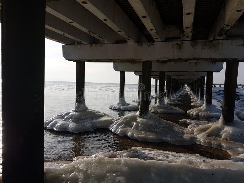 inverno em Lituânia Palanga sob a ponte fotos de stock royalty free
