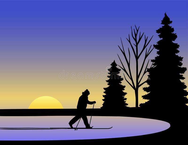 Download Inverno/ENV Dello Sciatore Del Paese Trasversale Illustrazione Vettoriale - Illustrazione di sera, illustrazione: 10219992