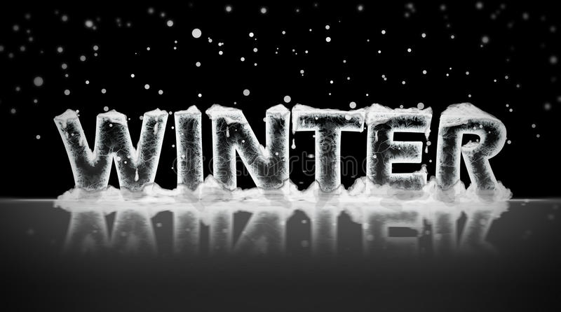 Inverno escrito no gelo imagem de stock