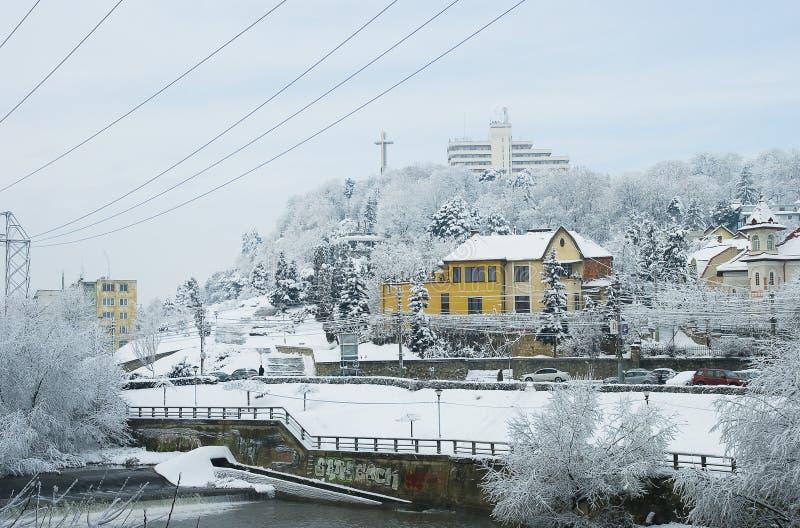 Inverno extremo em Europa fotografia de stock