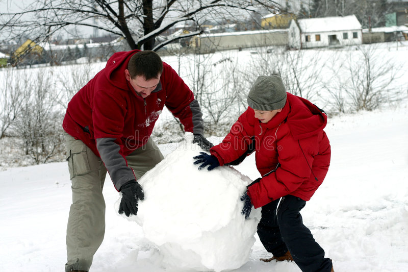 Inverno - Fare Pupazzo Di Neve Fotografia Stock