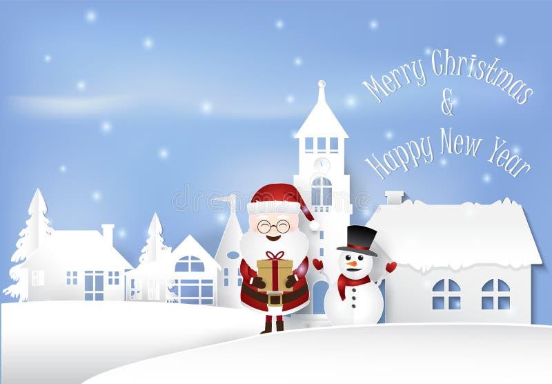 inverno feliz com a Santa que guarda a caixa de presente na arte do papel da cidade da cidade ilustração stock