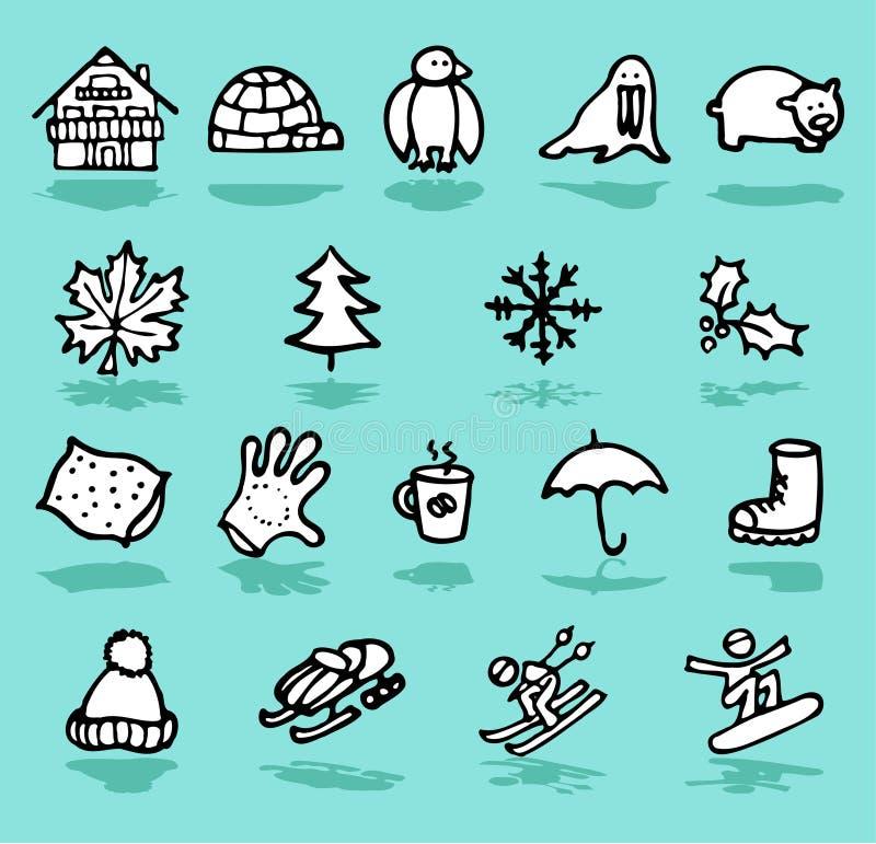 inverno, feste, icone della neve impostate illustrazione vettoriale