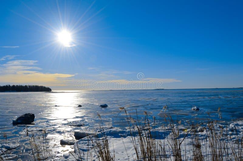 Inverno finlandese, Lauttasaari fotografia stock