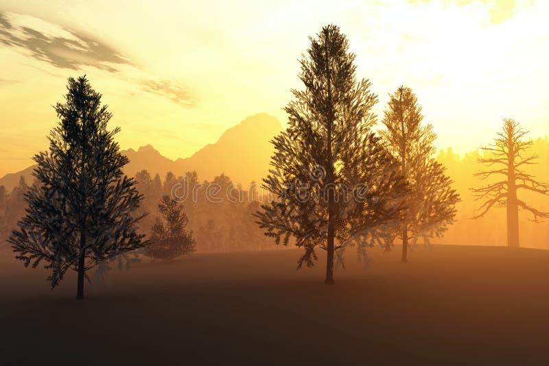 inverno Forest Sunset do norte ilustração stock