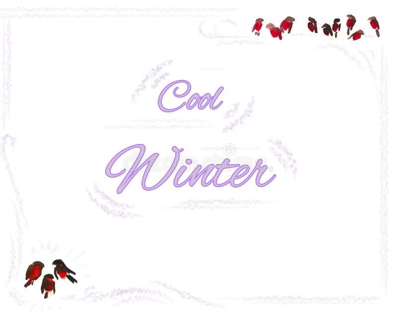 inverno fresco - cartão com quadro dos bullfinchs ilustração stock