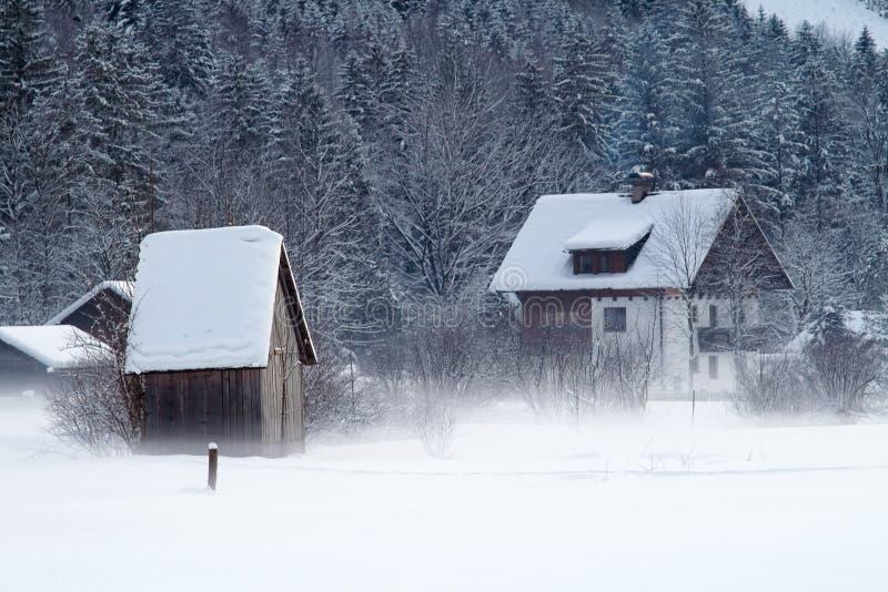 Inverno frio e nevado na montanha Áustria imagens de stock