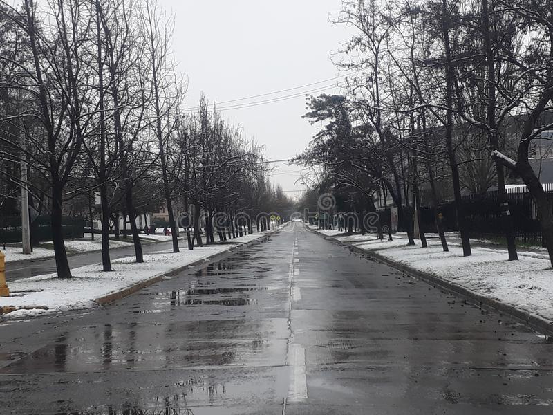 Inverno intermedio della via fotografie stock libere da diritti
