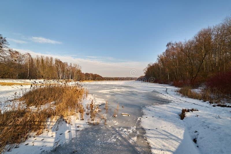 inverno - lago congelado, Rogoznik, Polônia imagem de stock royalty free