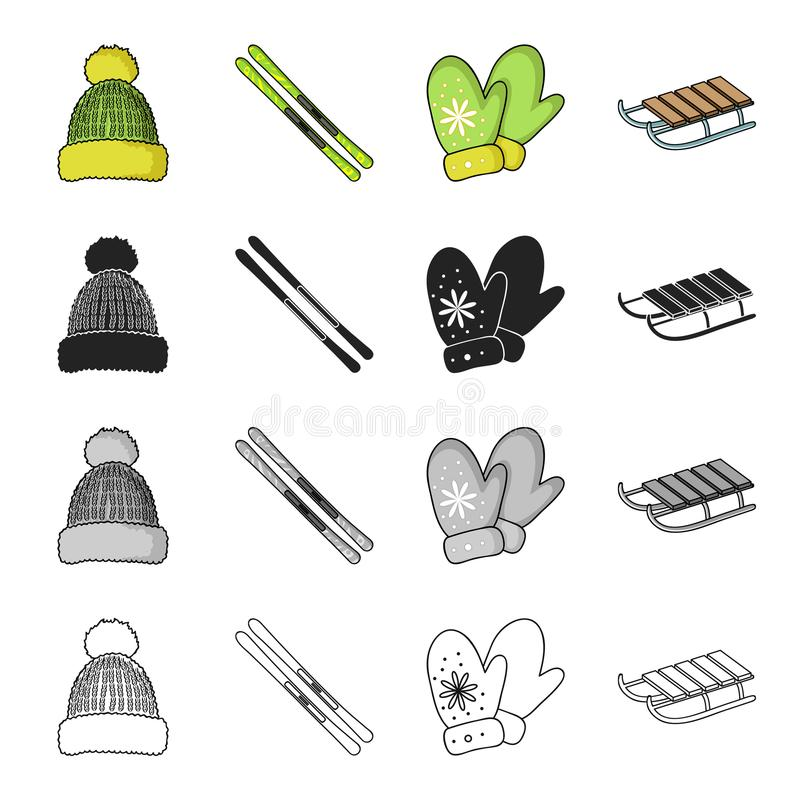 inverno, lazer, entretenimento e o outro ícone da Web no estilo dos desenhos animados Seat, ferramentas, acessórios, ícones na co ilustração do vetor