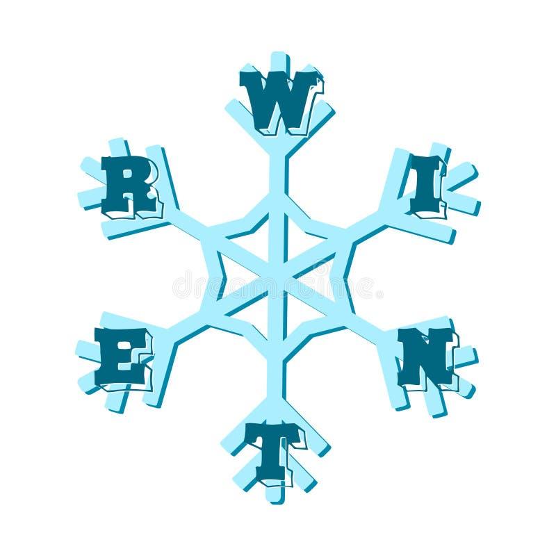 inverno - letras em um floco de neve ilustração do vetor