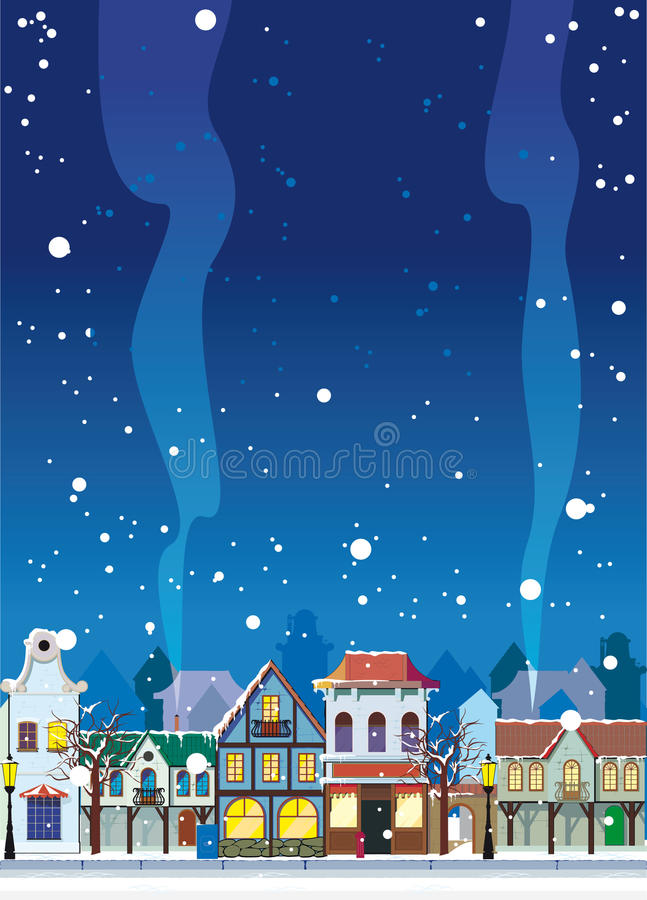 Inverno na cidade pequena ilustração stock