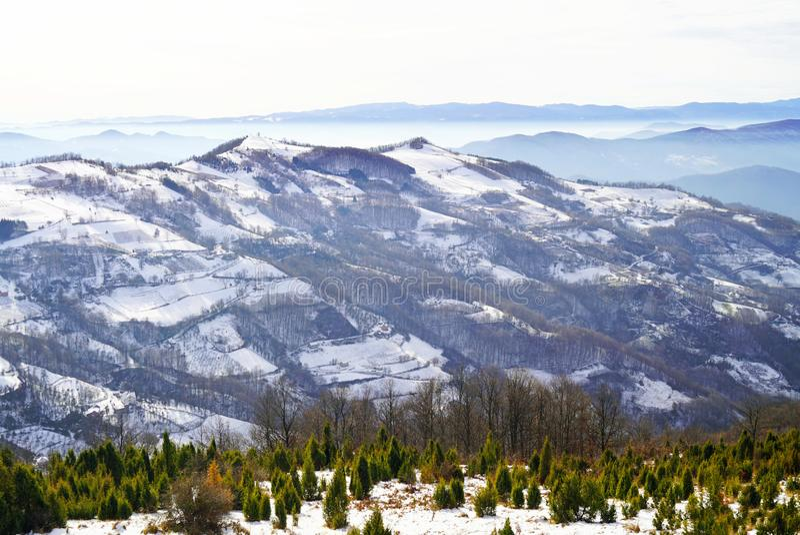 inverno nas montanhas da Sérvia ocidental fotografia de stock